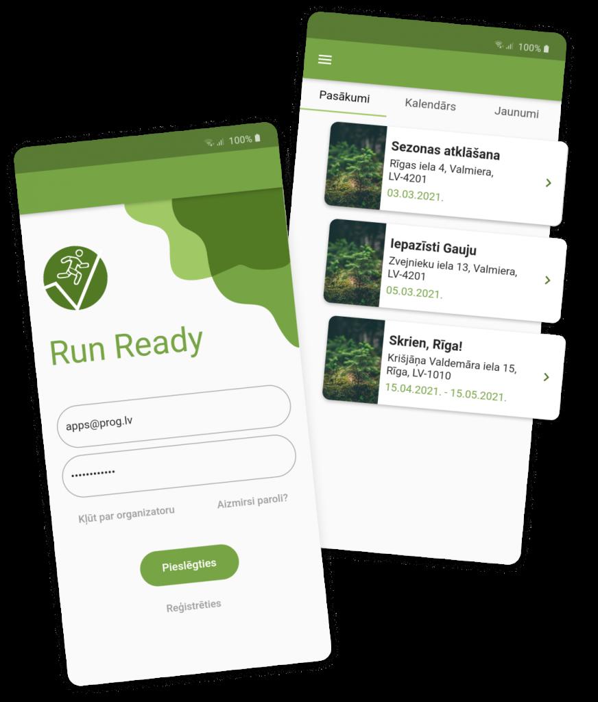 screens of RunReady mobile app