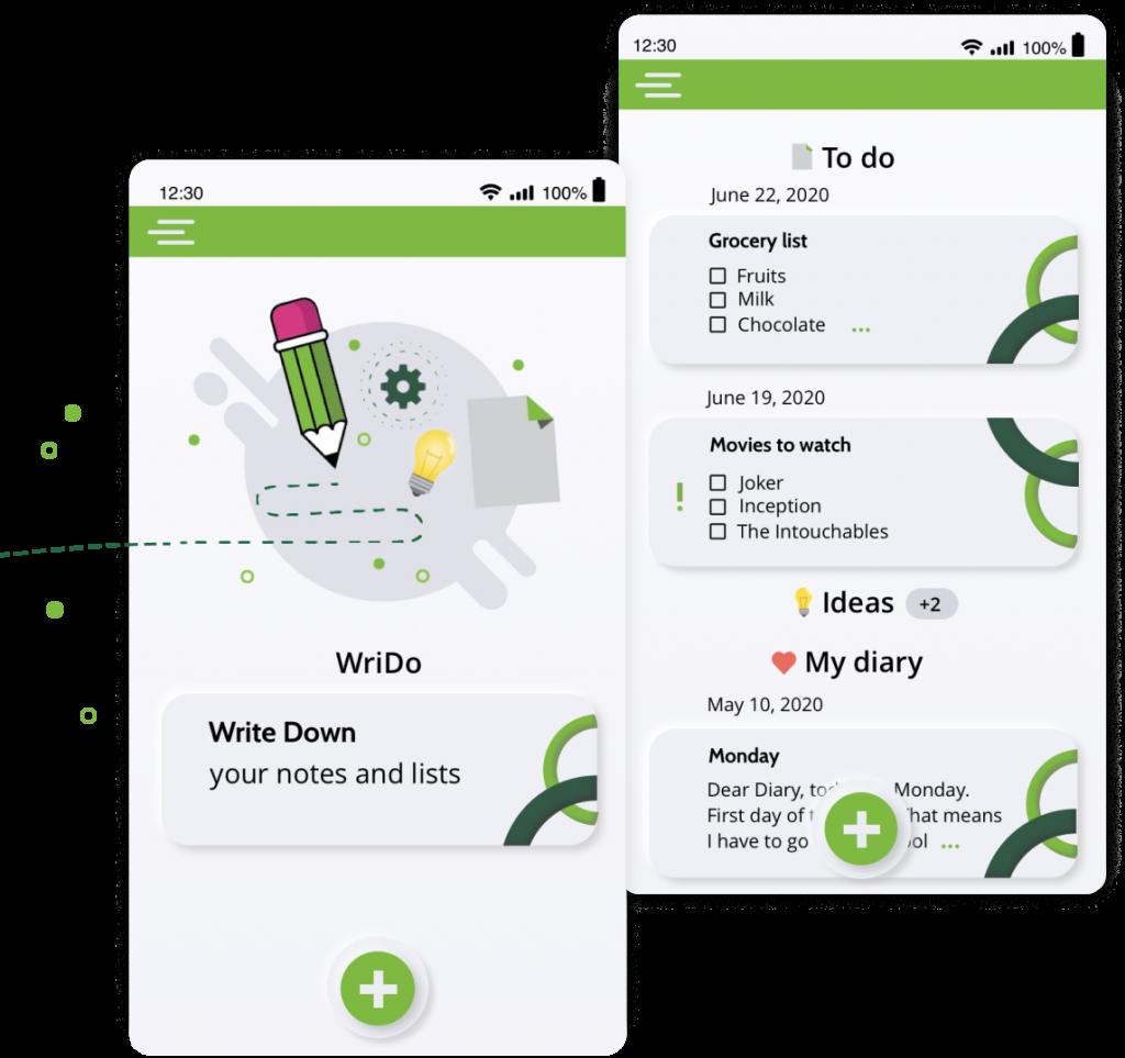 screens of WriDo mobile app